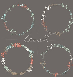 Four floral wreaths vector
