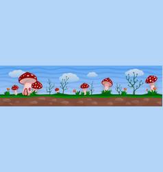 Funny fantasy landscape with red mushroom village vector