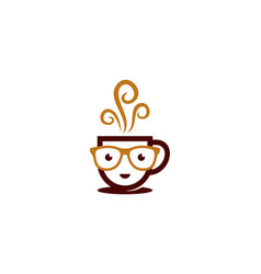 geek coffee logo icon design vector image