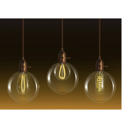 glass ball lamps with incandescent bulbs vector image