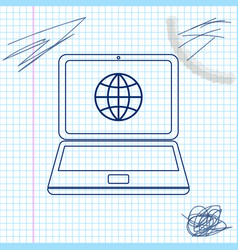 Globe on screen laptop line sketch icon vector