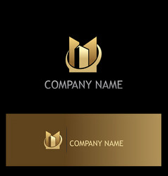 Gold building business company logo vector