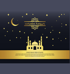 Gold mosque moon and stars element design vector