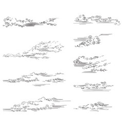 hand drawing clouds vector image