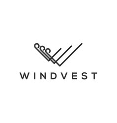 Initial letter v logo wind investing line style vector