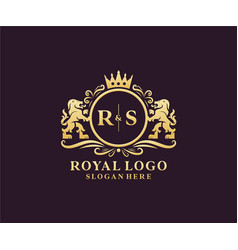 Initial rs letter lion royal luxury logo template vector