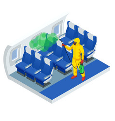 Isometric man in a white suit disinfects aircraft vector