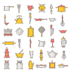 kitchenware seamless pattern cookware for vector image