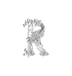 Letter r floral ornament vector