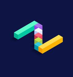 Letter z isometric colorful cubes 3d design vector