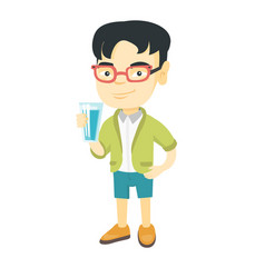 Little asian boy holding a glass of water vector