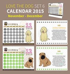 LOVE THE DOG CALENDAR 2015 SET 6 vector image