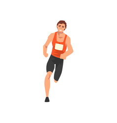 male athlete running track sportsman character in vector image