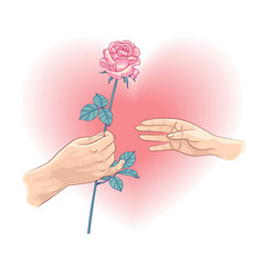man gives a woman a flower vector image