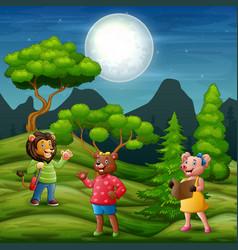 Many animal in night scene vector