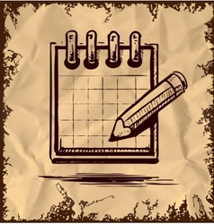 Organizer and pencil on vintage background vector