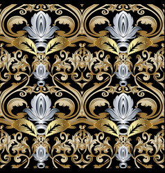 ornate gold silver baroque seamless pattern vector image