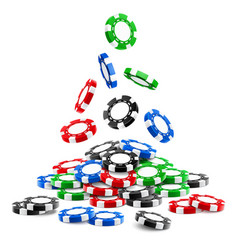 Pile of 3d gambling tokens or heap of casino chips vector