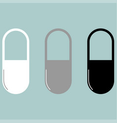 pill or capsule white grey black icon vector image