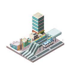 railway station metro train urban public vector image
