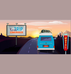 road trip adventure on road in car summer vector image