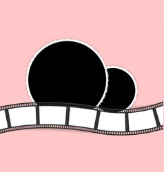 Round photo frames and film strip collage vector
