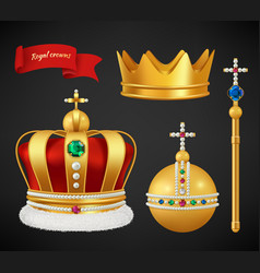 royal crowns luxury premium medieval gold symbols vector image
