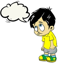 sad boy with speech bubble vector image