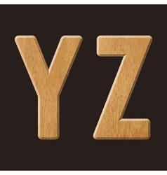 Sans serif geometric font with wood texture vector