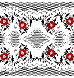 Seamless floral pattern in black and white with re vector image