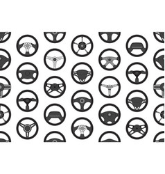 seamless pattern with car steering wheels vector image