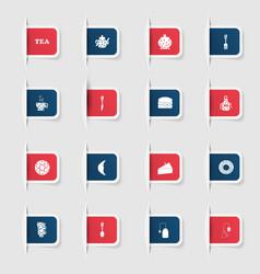 Set a collection unique paper stickers tea vector