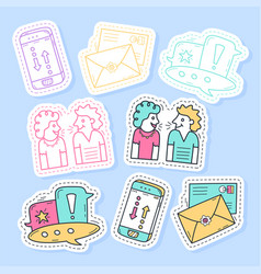 set communication stickers pins patches and vector image