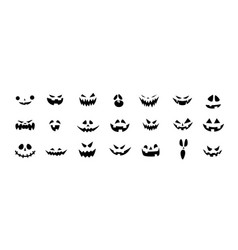 set halloween scary pumpkins cut spooky creepy vector image