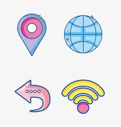 set mobile app to digital communication vector image vector image