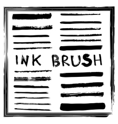 Set of brushes simulating ink vector