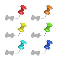 set of color office push pins with shadow simple vector image