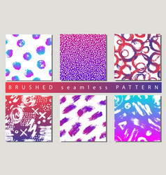 Set of colorful seamless pattern with brush vector