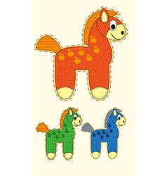 Set of Cute cartoon horse in flat design for vector image