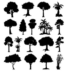 Set plant and tree silhouette vector