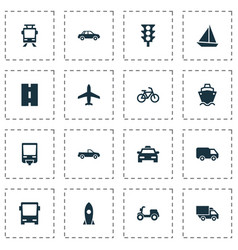 Shipment icons set collection of bicycle vector