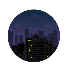 silhouette city night with stars at sky vector image