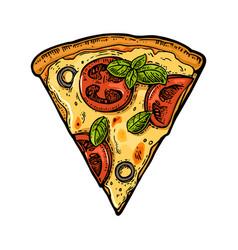 Slice pizza margherita vintage engraving vector