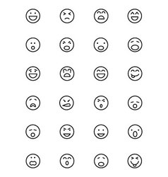 Smiley line icons 1 vector