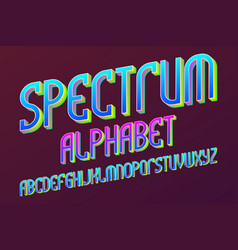 Spectrum colored alphabet iridescent artistic vector