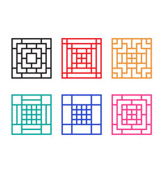 Square chinese window with pattern vector