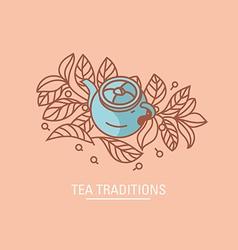 Tea traditions teapot and tea grenn or black leav vector