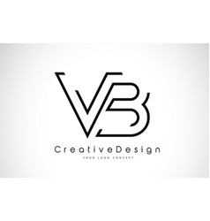 Vb v b letter logo design in black colors vector