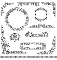 Vintage decorative frames design element set vector