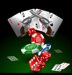 Western casino theme background with cards chip vector